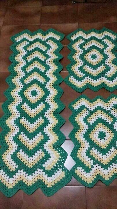 crochet rug for kitchen - green striped rug