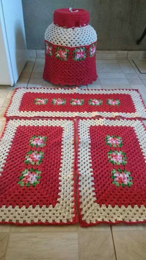 crochet rug for kitchen - red rug with white details