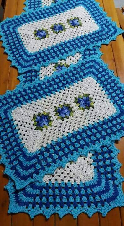 crochet rug for kitchen - blue rugs with flowers