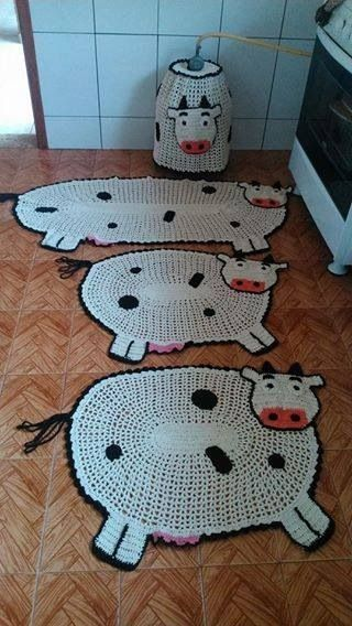 crochet rug for kitchen - cow rugs