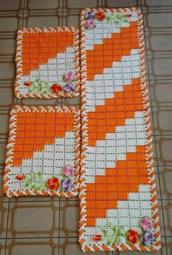 crochet rug for kitchen - orange rugs