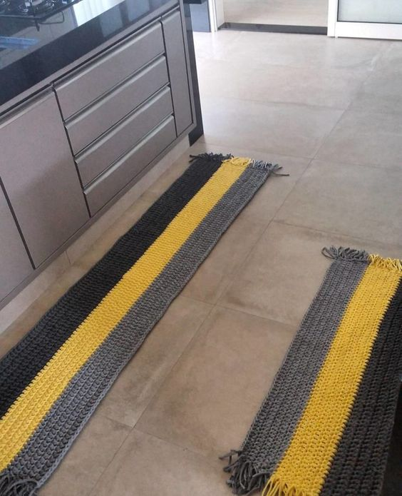 crochet rug for kitchen - yellow and gray striped rugs