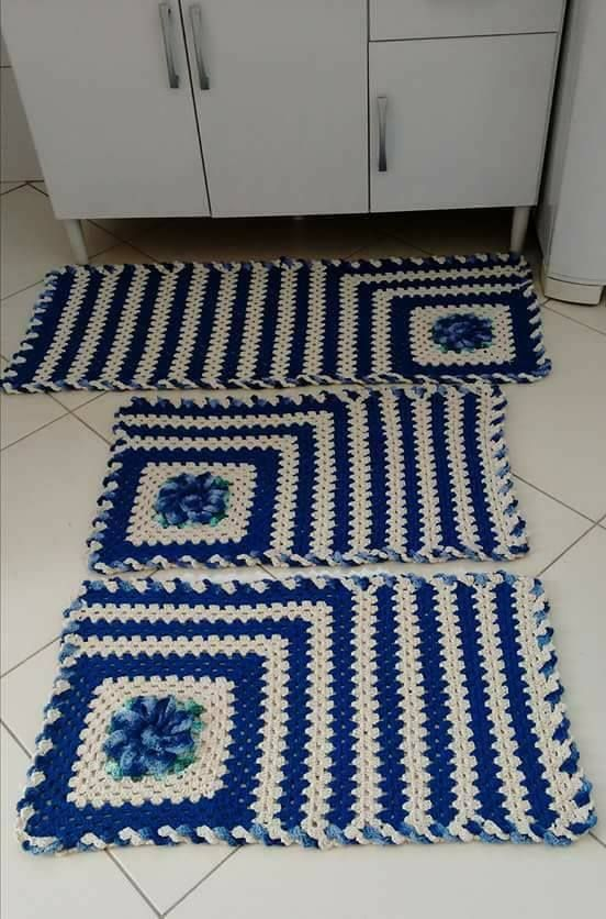 crochet rug for kitchen - blue striped rugs