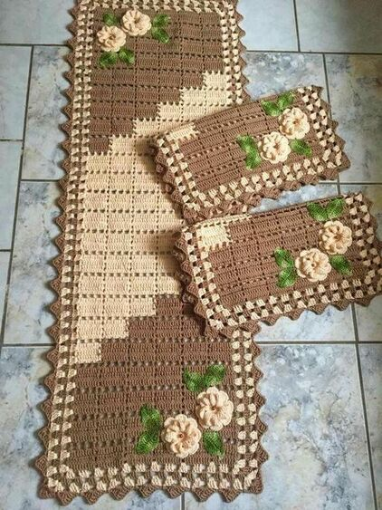crochet rug for kitchen - light and dark brown rugs