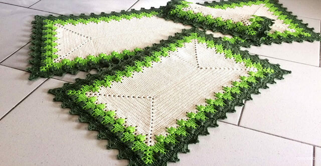 Crochet rug for kitchen - green rugs and beige