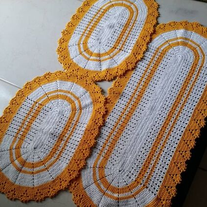 crochet rug for kitchen - set of orange rugs