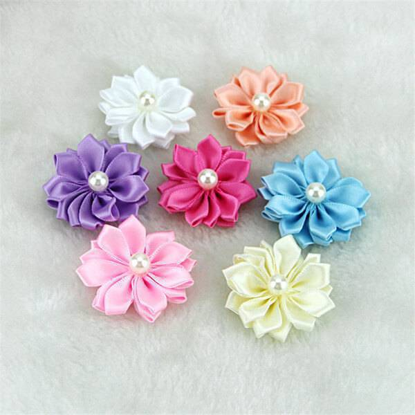 Satin ribbon flower with colorful colors