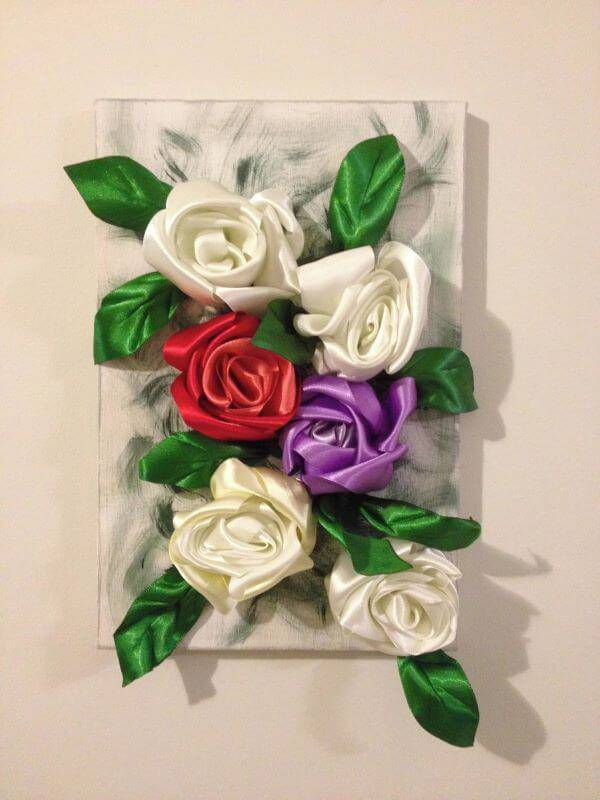 Satin ribbon flower in decoration