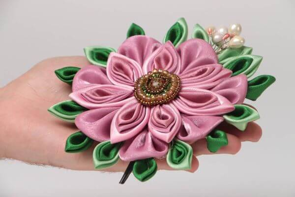 Satin ribbon flower with pearl embroidery
