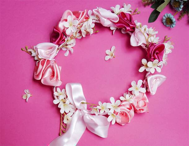 Satin ribbon flower garland