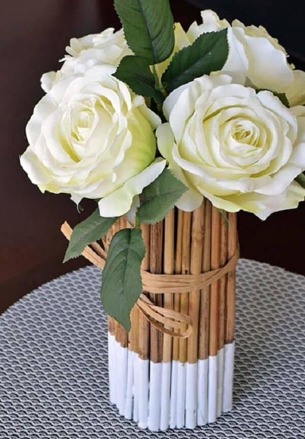 Fine bamboo craftsmanship forms a beautiful flower arrangement