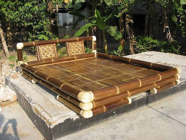 Bamboo crafts served as raw material for creating this outdoor bed