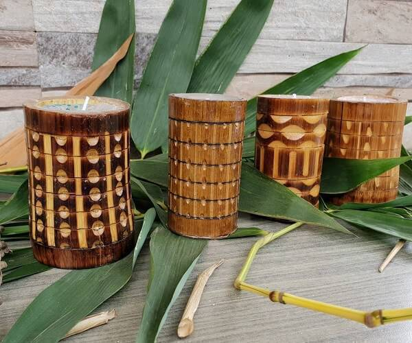 Candle holder made of bamboo crafts