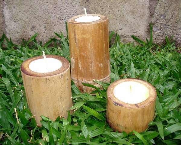 Candles made of bamboo crafts