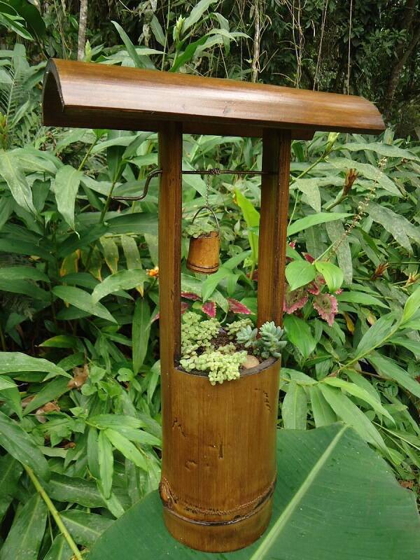 Decorative well made of handicrafts with bamboo