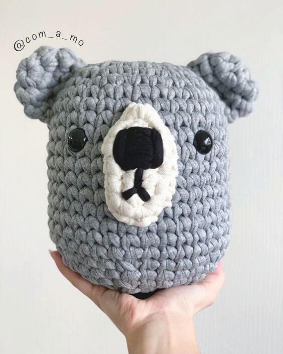 Crochet door weight with koala face