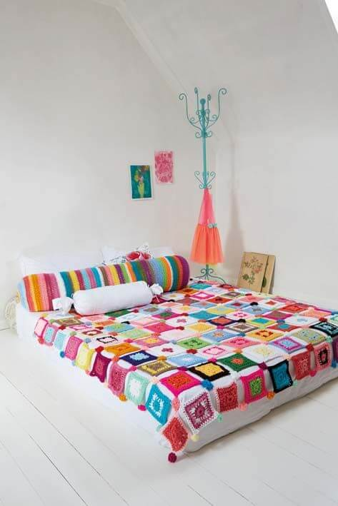 Crochet quilt in colored squares