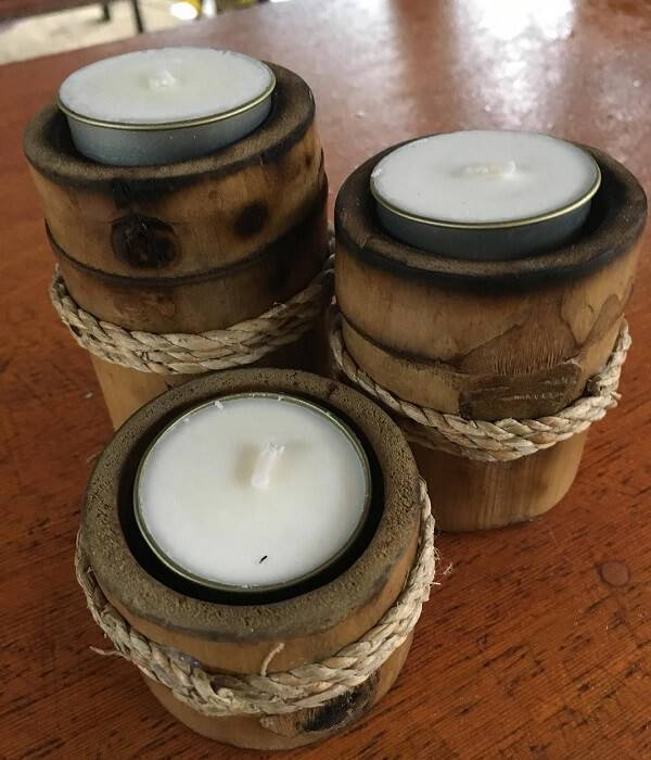 Candle holder created from crafts with thick bamboo