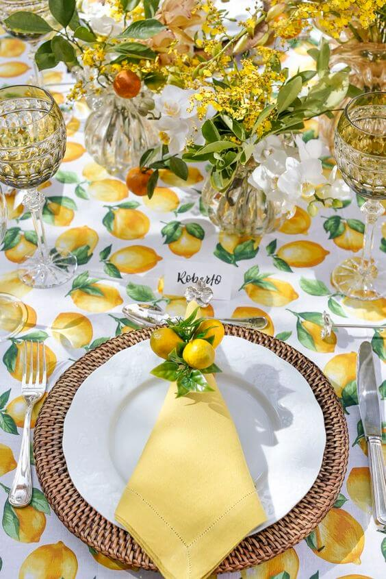 Tissue napkin for tropical party decorated with lemon