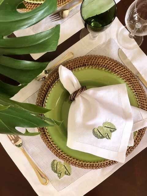 Embroidered fabric napkin for rustic party
