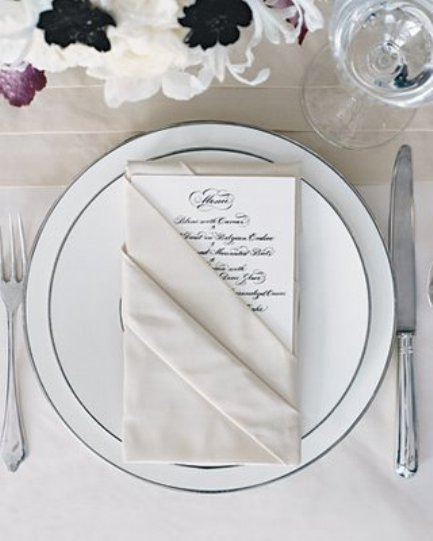 Folding fabric napkin to place the menu