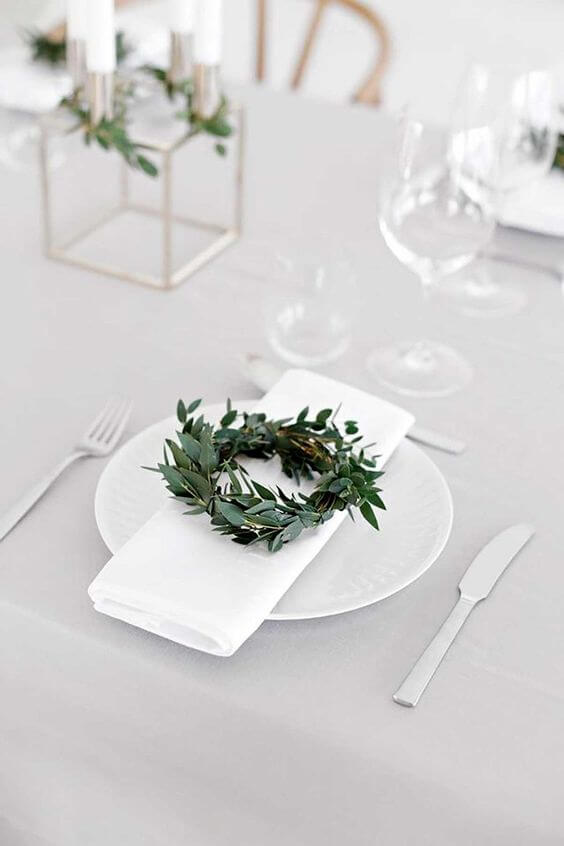 Fabric napkin with plants on simple table