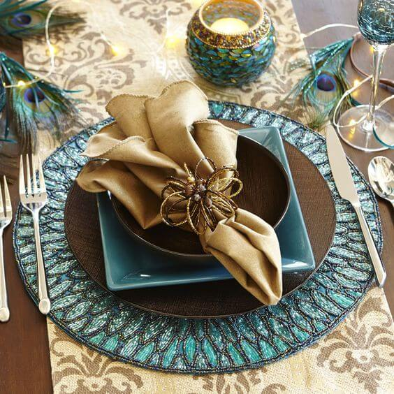Golden fabric napkin