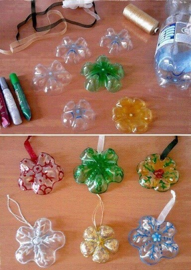 How to make Christmas ornaments with PET bottle for tree