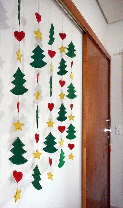 Hanging EVA Christmas ornaments with star trees and hearts