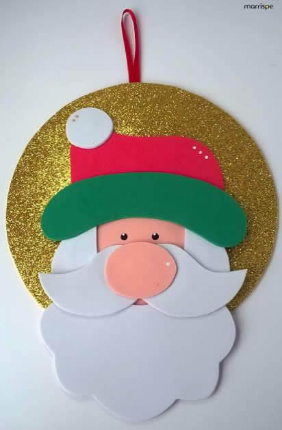 Christmas ornaments in EVA with Santa's face
