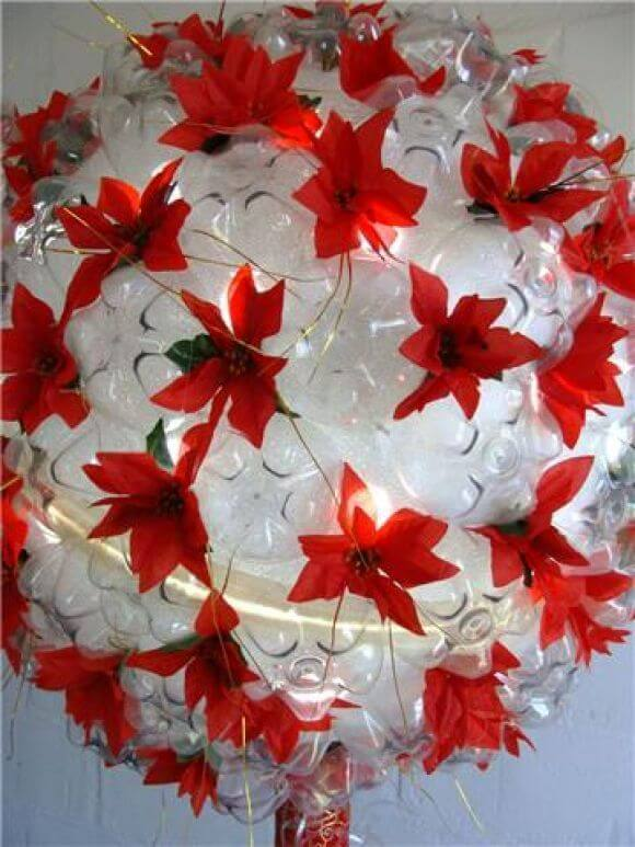 How to make Christmas ornaments with PET bottle with fake red flowers