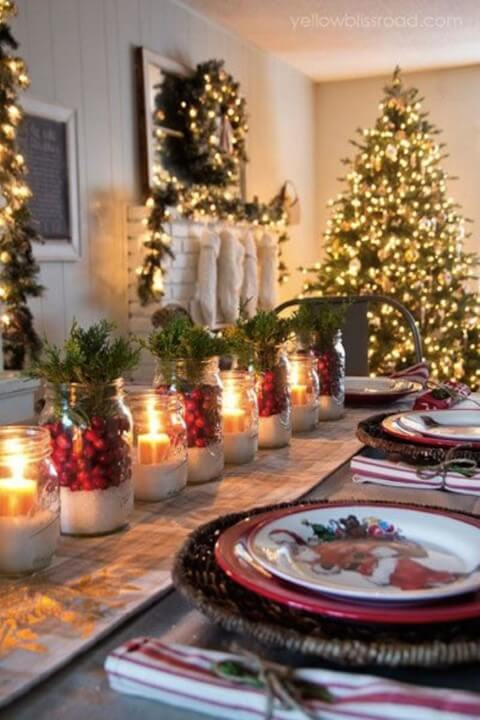 How to make Christmas ornaments with glass jars and candles