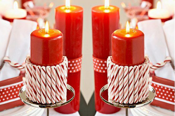 How to make Christmas ornaments made with candles and colorful caramels around