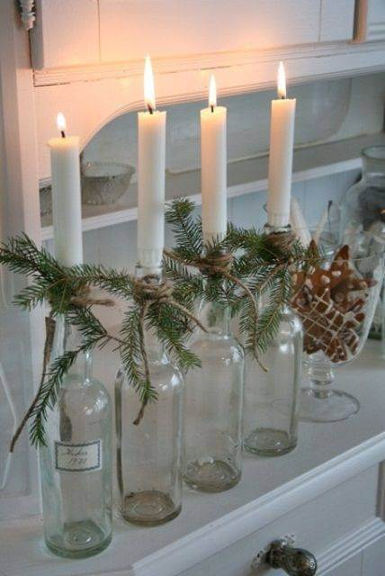 How to make Christmas ornaments with candles and transparent bottles