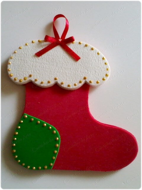 How to make Christmas ornaments in EVA in the shape of a sock