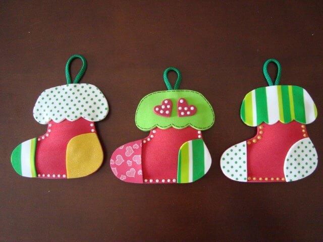 EVA Christmas ornaments in the shape of socks