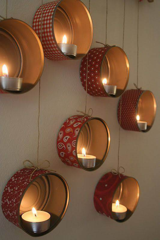 How to make Christmas ornaments with Christmas candles and cans
