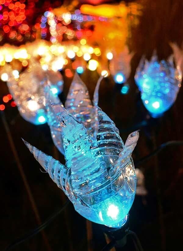 How to make Christmas ornaments with transparent PET bottle and colorful flasher