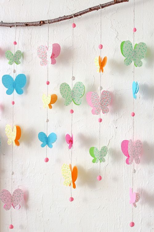 Paper butterfly curtain in party decoration