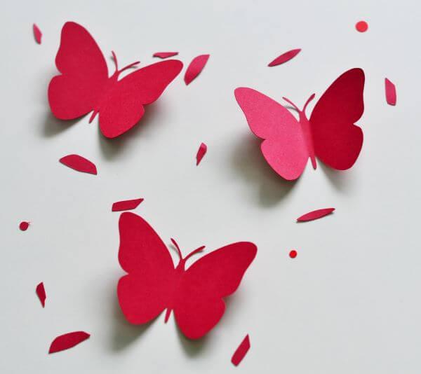 Red paper butterflies