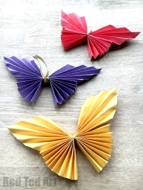 Colorful and folded paper butterflies