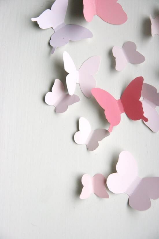 paper butterflies on the wall