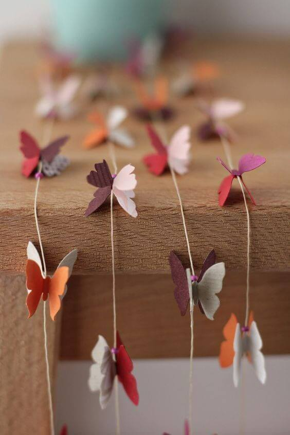 decoration with paper butterflies