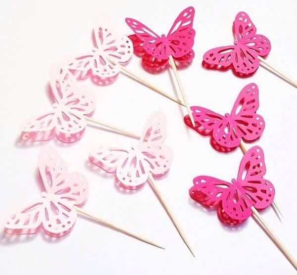 Pink paper butterflies