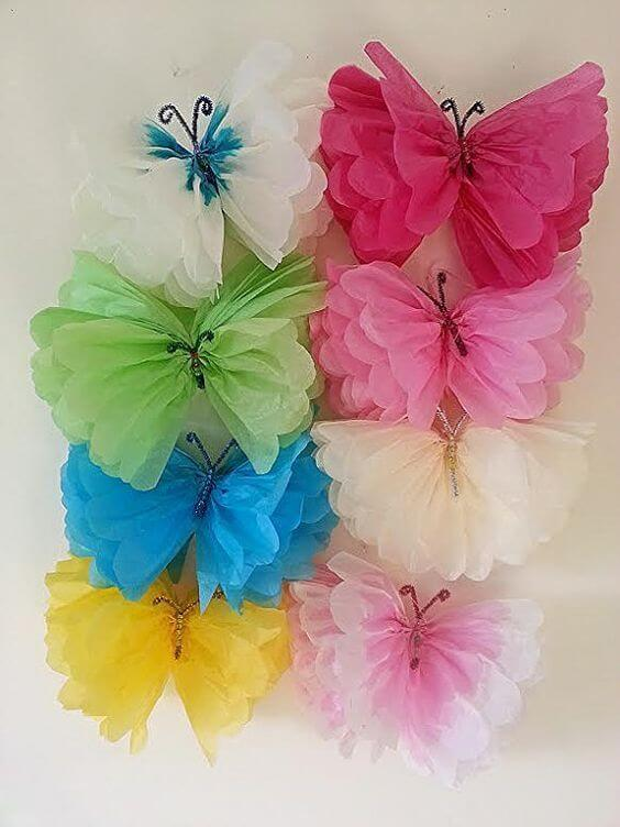 Colorful crepe paper butterflies to decorate the children's party