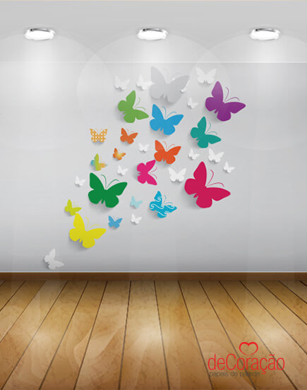 Paper butterflies on the wall to decorate the room