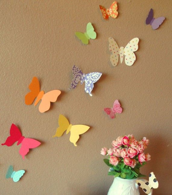 Home decor with paper butterflies