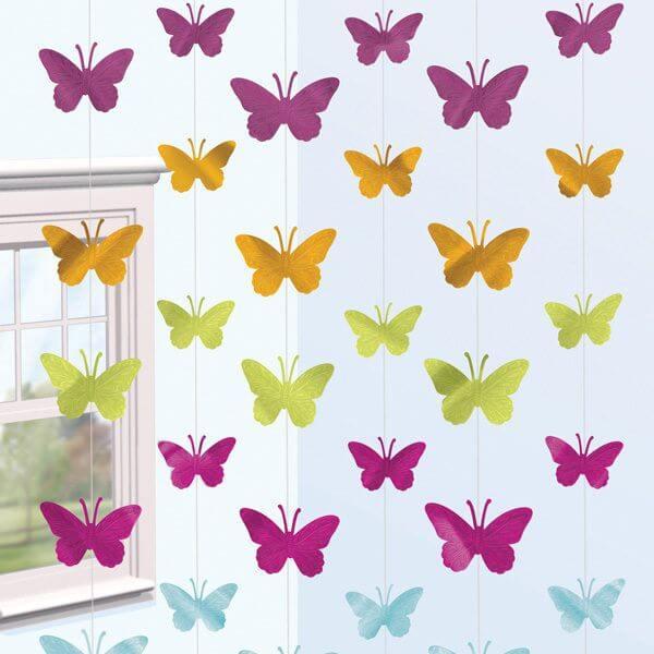 Paper butterflies on curtain