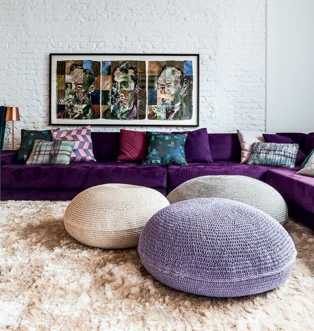 Crochet pouf for living room