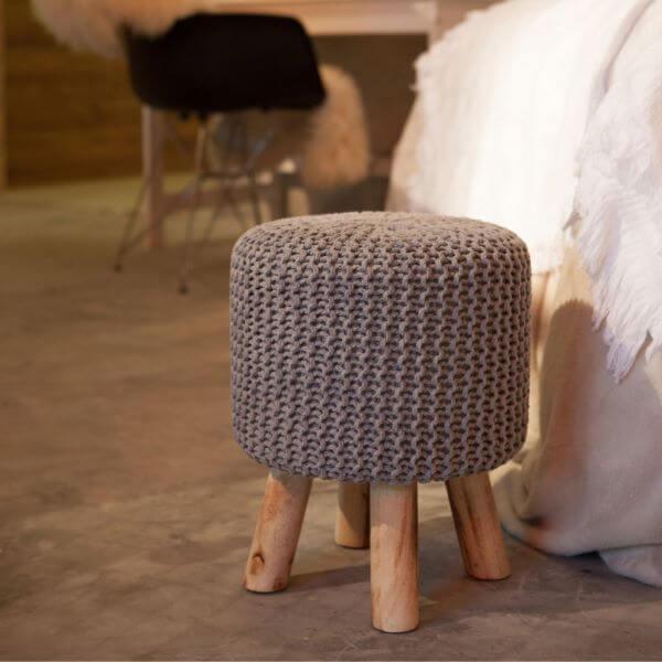 Gray crochet pouf